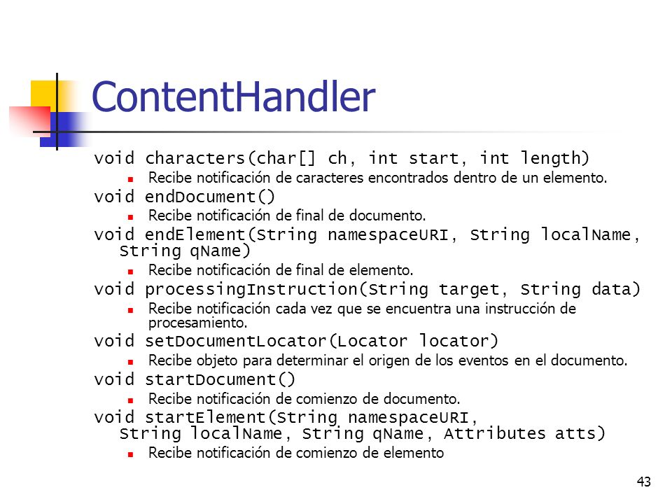 ContentHandler void characters(char[] ch, int start, int length)